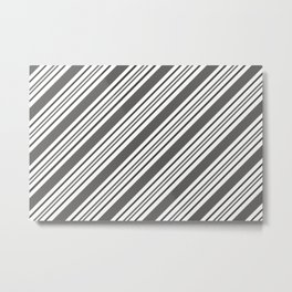Pantone Pewter and White Thick and Thin Angled Lines - Diagonal Stripes Metal Print