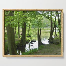 Forest with Creek scenery photo Serving Tray