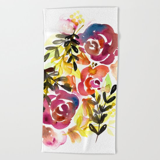 Violet Roses Beach Towel