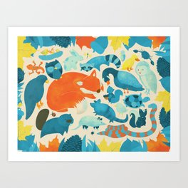 Wildlife Collage Woodland Creatures and Cute Animals Art Print
