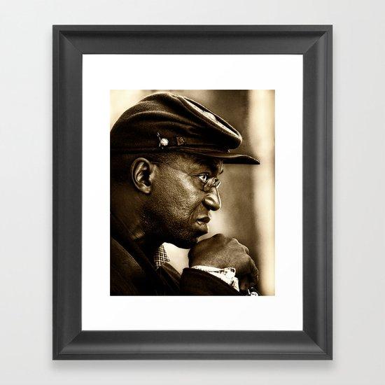 civil war soldier in profile Framed Art Print