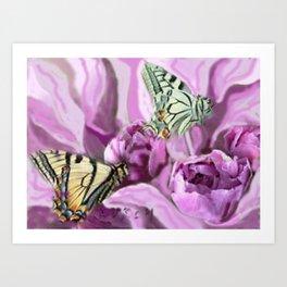 Butterflies and Roses Art Print