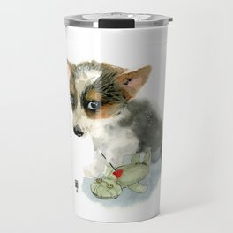 little dog with voodoo doll begging for love Travel Mug