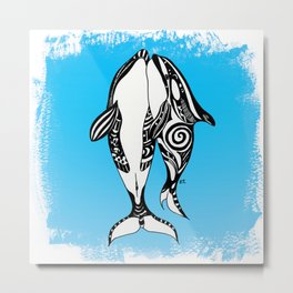 Two Orca Whales Tribal Blue Art Metal Print