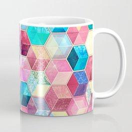 Topaz & Ruby Crystal Honeycomb Cubes Coffee Mug