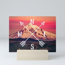Snowy Mountain Compass Mini Art Print