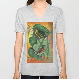 Orioles with Catalpa Tree, Natural History, Vintage Botanical Collage Unisex V-Neck