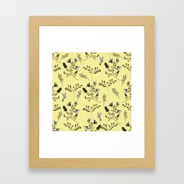 Butter Yellow and Bluebells and Bluebirds Floral Pattern Flowers in Blue and Bark Brown Framed Art Print