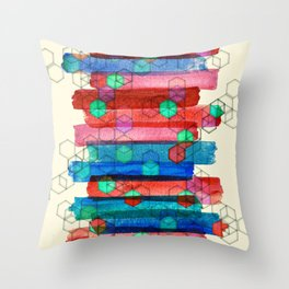 Shape Shifting & Shadow Boxing - watercolor stripes & hexagon pattern Throw Pillow