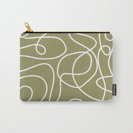 Doodle Line Art   White Lines on Khaki/Olive Green Carry-All Pouch