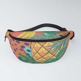 Geometric pineapple with tropical leaves and fruits retro design Fanny Pack