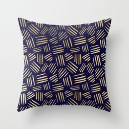 Chic navy blue faux gold abstract brushstrokes Throw Pillow