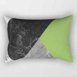 Black and White Marbles and Pantone Greenery Color Rectangular Pillow