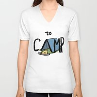 camp V-neck T-shirts featuring to Camp by Ken Coleman