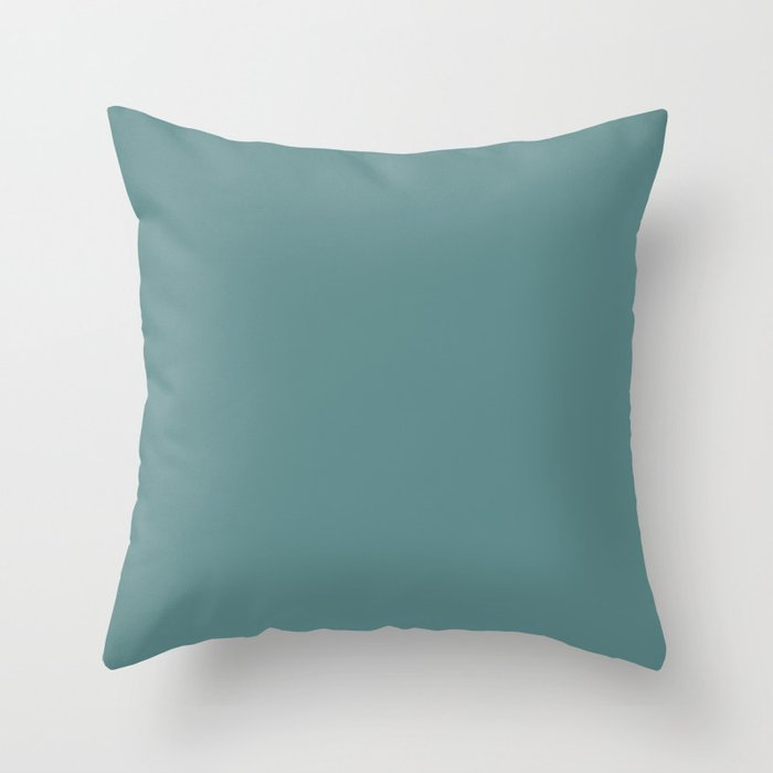 Steel Teal - solid color Throw Pillow