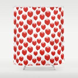 Strawberries - trendy fresh tropical fruit vegan vegetarian juice juicing cleanse Shower Curtain