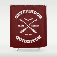 quidditch Shower Curtains featuring Gryffindor Quidditch by Sharayah Mitchell