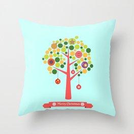 Christmas tree illustration Throw Pillow