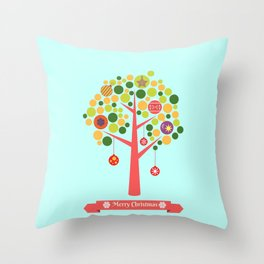 Christmas tree illustration Throw Pillow