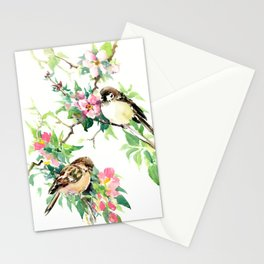 Sparrows and Apple Blossom, spring floral bird art Stationery Cards