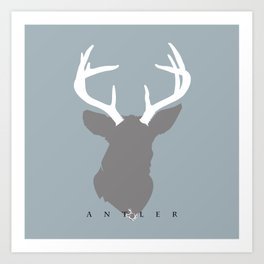 White Antlers on Deer Grey Silhouette Art Print
