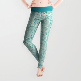 Detailed Floral Pattern in Teal and Cream Leggings
