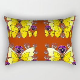 RUST COLORED YELLOW  BUTTERFLY & PANSY FLORAL Rectangular Pillow