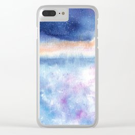 Blue Sky Illustration Clear iPhone Case