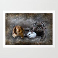 Rabbits and a Pug Art Print