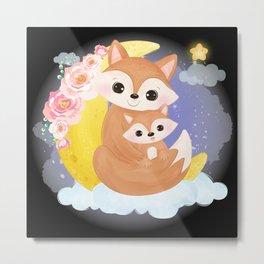 Cute fox family on a cloud with a half moon Metal Print