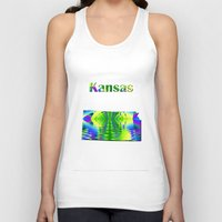 kansas Tank Tops featuring Kansas Map by Roger Wedegis