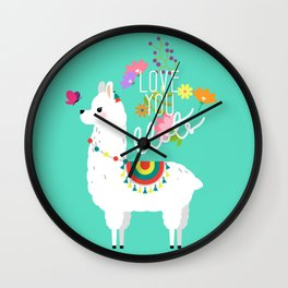 Floral llama with butterfly Wall Clock