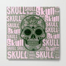 WordArt Skull A Metal Print