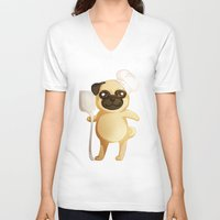 chef V-neck T-shirts featuring Chef Pug by Feeliżanka★