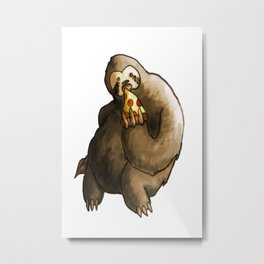 kawaii sloth eating pizza Metal Print