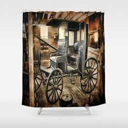 Vintage Horse Drawn Carriage Shower Curtain