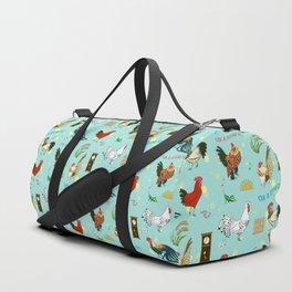 Cute seamless roosters pattern cartoon Duffle Bag