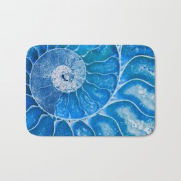 Blue colored Ammonite fossil Bath Mat