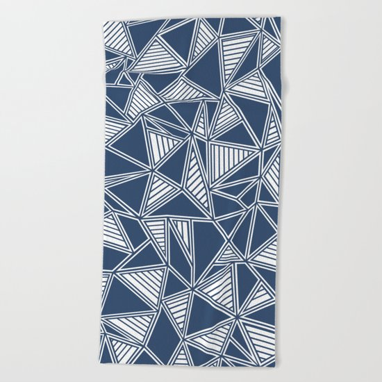 Abstract Outline Lines Navy  Beach Towel