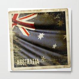 Grunge sticker of Australia flag Metal Print