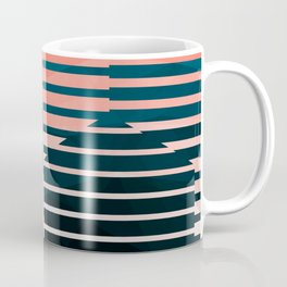 Love Molecules - Throwback Hexagon Geometry Abstract Coral Black White Teal Coffee Mug