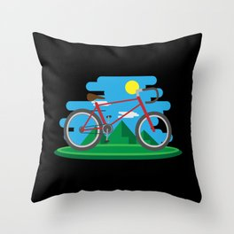 Cycling Forever | Bicycle Enthusiast Throw Pillow