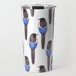 Black billed magpie or American magpie or Pica Caudata bird Travel Mug
