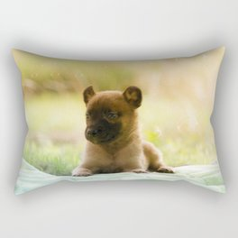 Malinois puppies in the soap blowing game Rectangular Pillow