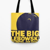 big lebowski Tote Bags featuring The Big Lebowski by Chá de Polpa