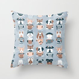 Doggie Coffee and Tea Time I // blue grey Throw Pillow