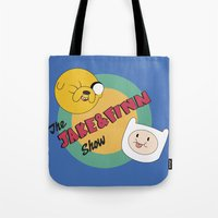 finn and jake Tote Bags featuring The Jake & Finn Show. by Agu Luque