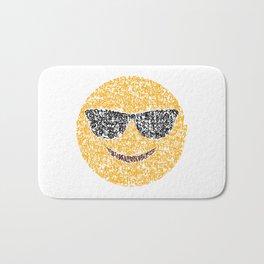 Emoji Calligraphy Art :Smiling face with sunglasses Bath Mat