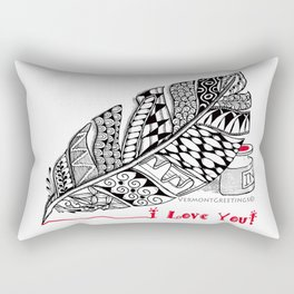 I Love You feather pen Rectangular Pillow
