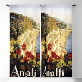 Amalfi - Italy Vintage Travel Poster 1920 Blackout Curtain